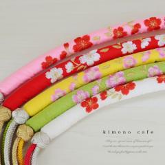 七五三 帯締め 桜 刺繍 苧環 丸ぐけ 帯〆 七歳用 赤 ピンク 白 黄色 コバルトブルー
