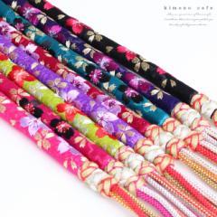 振袖 帯締め 桜 刺繍 正絹 丸ぐけタイプ 全8カラー 青紫 ターコイズ 紫 黄緑 ローズ ピンク メール便不可