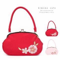 小学生 袴 バッグ 八重桜の刺繍 がま口 ちりめん レトロ 成人式 卒業式 赤 ピンク 桜