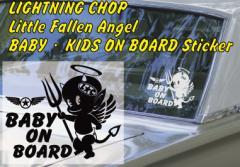 リトル・フォーリンエンジェル BABY KIDS ON BOARD「サイズ約18cmx15cm」ベビー キッズ オンボード ステッカー