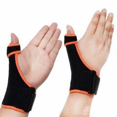 親指用 メッシュ サポーター ばね指 育児腱鞘炎 金属プレート フリーサイズ 左右兼用 (オレンジ/A00813)