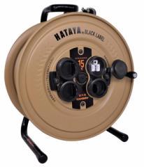 ハタヤ サンデーレインボーリール 15m アース付 SG-15KBE デザートカラー 屋外用防雨型接地付 3芯 重量4.1kg 幅326mmx高さ275mmx奥行178m