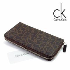 09fe1422a953 【Calvin Klein】カルバンクライン メンズ レディース 長財布 ラウンドファスナー レザー ウォレット ブラウン ブランド