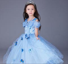 プリンセスドレス コスプレ シンデレラドレス ロングドレス 蝶々飾り 子供 女の子 衣装 コスチューム 仮装 お姫様 なりきり ワンピース