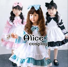 アリス ワンピース コスチューム 衣装 子供 コスプレ 女の子 キッズ 子供ドレス 水色アリス エプロン 結婚式 子供服 不思議の国のアリス