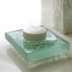 ソープディッシュ Glass block(フランジパニ)   アジアン雑貨 バリ おしゃれ リゾート プルメリア バリ雑貨 インテリア ココバリ アジア