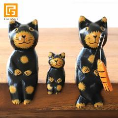 バリネコS(親子)釣り(ブラック) 猫グッズ 雑貨 プレゼント 猫雑貨 バリ猫 置物