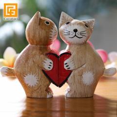 バリネコ(カップル)ハート 猫グッズ 雑貨 プレゼント 猫雑貨 バリ猫 置物 おしゃれ インテリア雑貨