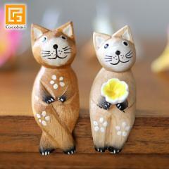 バリネコS(カップル)(ナチュラル) 猫グッズ 雑貨 プレゼント 猫雑貨 バリ猫 置物 おしゃれ かわいい インテリア雑貨