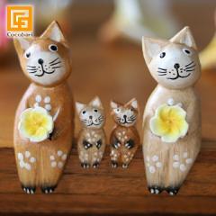 バリネコS(ファミリー)(ナチュラル)(親2子2) 猫グッズ 雑貨 プレゼント 猫雑貨 バリ猫 置物 かわいい おしゃれ インテリア雑貨