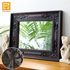 バリ アンティークミラー4 (50×40cm) アジアン雑貨 バリ 鏡 壁掛け おしゃれ 木製 バリ雑貨 インテリア ココバリ アジアン雑貨 バリ雑貨