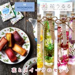 花 スイーツ セット 送料無料 洋菓子 ギフト ハーバリウム  [ウェッジウッドの紅茶&フィナンシェとハーバリウムのセット] お菓子 出産