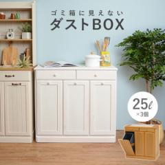 秋のセール 送料無料 キッチン3分別ダストボックス(25L×3個)(完成品)キャスター付き・ペール付き(ホワイト ナチュラル)(大容量