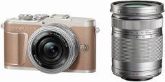 オリンパス ミラーレス 一眼カメラ PEN E-PL10 EZ ダブルズームキット OLYMPUS 小型 軽量 ブラウン BR
