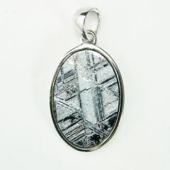 TENKAPAS ナミビア産 ギベオン隕石 ペンダント ネックレス 18×12mm プラチナ仕上げ50cmスネークチェーン付き(メンズ用) p9504-m