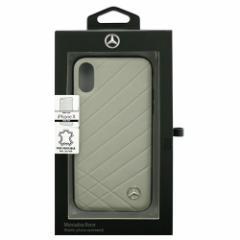 Mercedes 公式ライセンス品 iPhoneX専用 本革ハードケース PATTERN II - Genuine Leather - Hard Case - Crystal Grey
