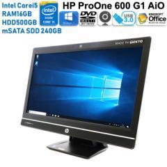 一体型 HP 600 G1 AiO Windows10互換Office付き 第4世代 Core i5 メモリ 16GB HDD500GB 超速新品SSD240GB USB3.0 DVDマルチ  中古パソコ