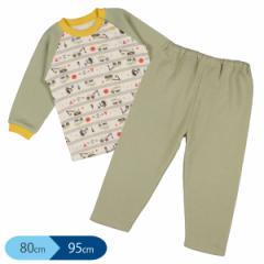裏起毛ラグラン長袖パジャマ(はたらくくるま)【80cm・90cm・95cm】[パジャマ 長袖 あったか 男の子 ベビー 赤ちゃん 子供 キッズ ルー