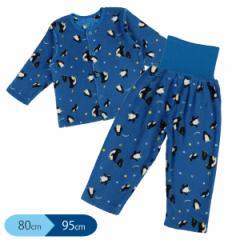 マイクロフリース腹巻付き前開き長袖パジャマ(ペンギン)【80cm・90cm・95cm】[パジャマ 長袖 あったか ベビー 赤ちゃん 子供 キッズ 男