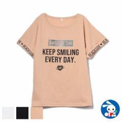 袖折り返しロゴフレンチ半袖Tシャツ【130cm・140cm・150cm・160cm】[女の子 tシャツ 西松屋 シャツ ティーシャツ 子供服 子ども服 キッズ