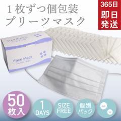 マスク 使い捨て 個別パック 個包装 50枚 土日も毎日発送 在庫あり 即納 不織布マスク プリーツマスク 白 痛くない 息がしやすい ウイル
