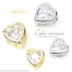 【2個】キュービックジルコニアチャームCubic zirconia Heart 4mm&5mmかわいいハート型 通すだけ簡単