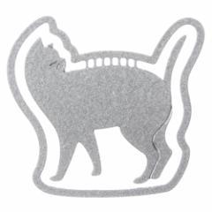 プチクリ 振り返り猫 シルバー(PC001) 10個入り