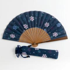 華やぎ扇子セット あじさい紺 扇子袋付 スーベニール Folding fan made of cloth ※在庫限り