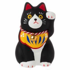 民芸招き猫 黒(小)厄除 (K4510) 瀬戸焼の置物 愛知県の工芸品 Lucky cat, Seto-yaki