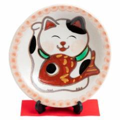 ひさみ窯 めでたい猫絵皿 (K6559) 美濃焼の飾り絵皿 縁起物 岐阜県の工芸品 Decorative plate, Setoyaki, Aichi craft