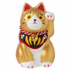 民芸招き猫 金(小)金運 (K4511) 瀬戸焼の置物 愛知県の工芸品 Lucky cat, Seto-yaki