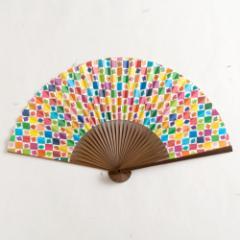 【扇子】女房扇 京千鳥格子 (SB-012) 和紙の扇子6寸5分 和詩倶楽部 Sensu fan, Washi-club