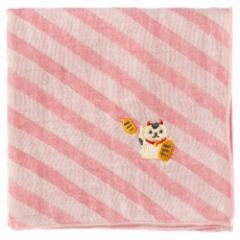 名古屋ハンカチ まねきねこ 刺繍入りガーゼハンカチ スーベニール Japanese pattern embroidered gauze handkerchief