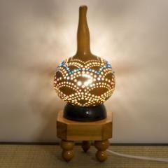 上州瓢箪 行灯 ランプシェード11 青海波ビーズ装飾 ひょうたんから作られたインテリアライト 群馬県の工芸品 作者:天笠修次 Lamp