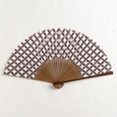 【扇子】女房扇 黒鳶七宝文 (SB-014) 和紙の扇子6寸5分 和詩倶楽部 Sensu fan, Washi-club