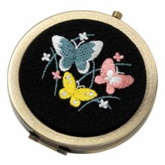 和刺繍コンパクトミラー 蝶 スーベニール Japanese flower pattern embroidered compact mirror