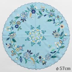 刺繍大判まるハンカチ 花和更紗 ブルー (1840-A) φ57cm綿ハンカチ Cotton handkerchief