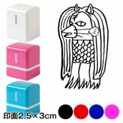 アマビエチャレンジ!! アマビエ猫山田スタンプ浸透印 文字なし 印面2.5×3cmサイズ (2530) Self-inking stamp, Amabie Nekoyamada