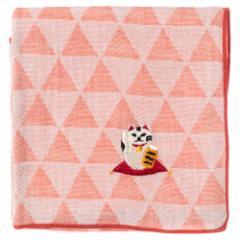 縁起ハンカチ 招き猫 刺繍入りガーゼハンカチ スーベニール Japanese pattern embroidered gauze handkerchief
