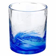 琉球ガラス 海蛍ロックグラス 青 (748-0063) 神秘的に光るグラス 作者:泉川寛勇 沖縄県の工芸品 Ryukyu glass Umihotaru Rock gla