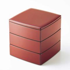 胴張三段重箱 古代朱内黒 6.5寸 (MA-553)