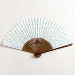 【扇子】女房扇 水色唐草 (SB-018) 和紙の扇子6寸5分 和詩倶楽部 Sensu fan, Washi-club ※在庫限り