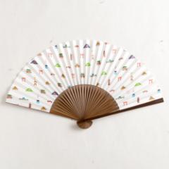 【扇子】女房扇 洛中文 (SB-019) 和紙の扇子6寸5分 和詩倶楽部 Sensu fan, Washi-club ※在庫限り
