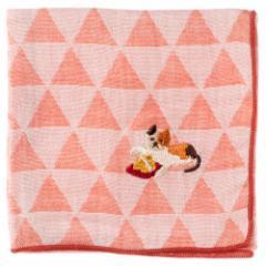 ことわざハンカチ 猫に小判 刺繍入りガーゼハンカチ スーベニール Japanese pattern embroidered gauze handkerchief