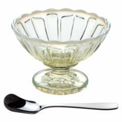 フラッペ古代色+角アイスクリームスプーンセット 廣田硝子 雪の花 レトロなガラス食器セット Glass tableware set