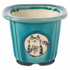 風水猫ミニ植木鉢・青 (K4633) 瀬戸焼の植木鉢 愛知県の工芸品 Flower pot, Seto-yaki