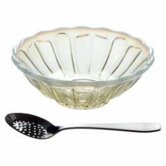 デザートボール古代色+イチゴスプーンセット 廣田硝子 雪の花 レトロなガラス食器セット Glass tableware set