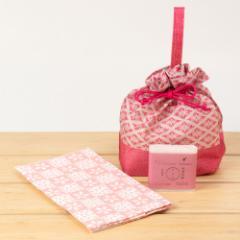 江処堂 洗顔石鹸セット さくら やさしい桜の香り 手ぬぐい・巾着付き 天然の保湿成分をまるごと閉じ込めたハンドメイド石けん Cher
