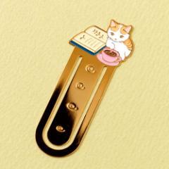 ブックマーカー(しおり) 読書8 ココア (BM-08) ポタリングキャット Cat bookmark, Pottering cat