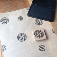 使いやすい丸型和柄はんこ 紗綾形 消しゴムはんこ ただのやまもと Japanese pattern hanko stamp